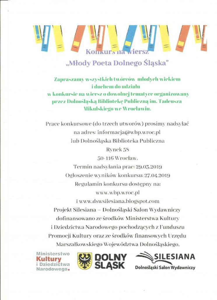 Konkurs Na Wiersz Gminne Centrum Kultury I Sportu W Trzebnicy